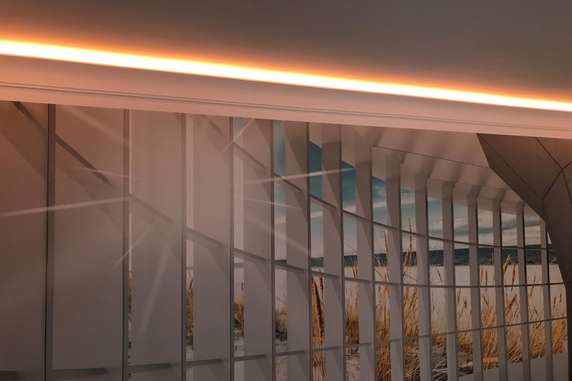 2meter led pu stuckleiste f r indirekte beleuchtung zierleiste sto fest ek led 4 ebay. Black Bedroom Furniture Sets. Home Design Ideas
