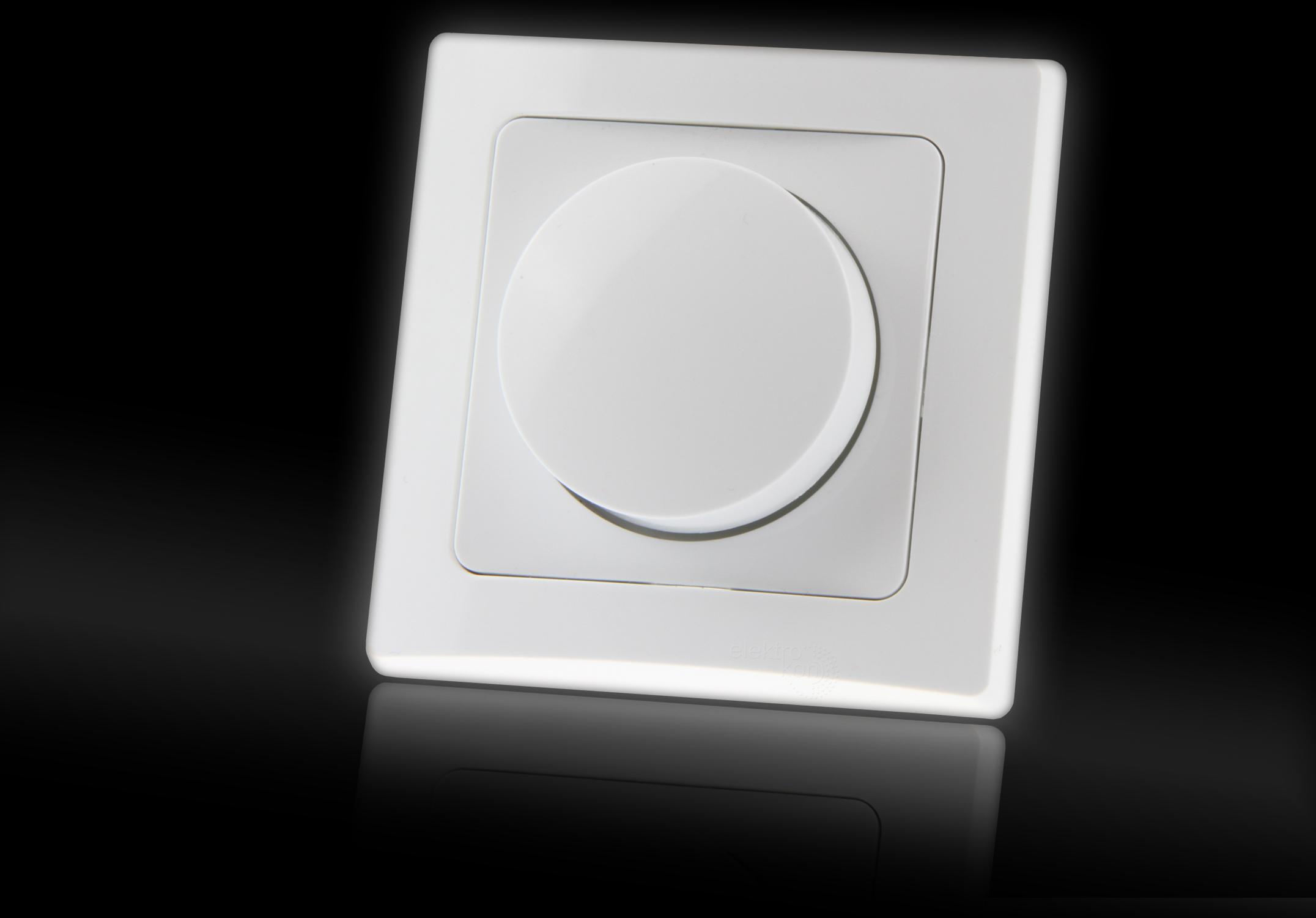 led dreh dimmer schalter f r elektronische trafos 230v 20 300w lampen gu10 up inkl rahmen. Black Bedroom Furniture Sets. Home Design Ideas