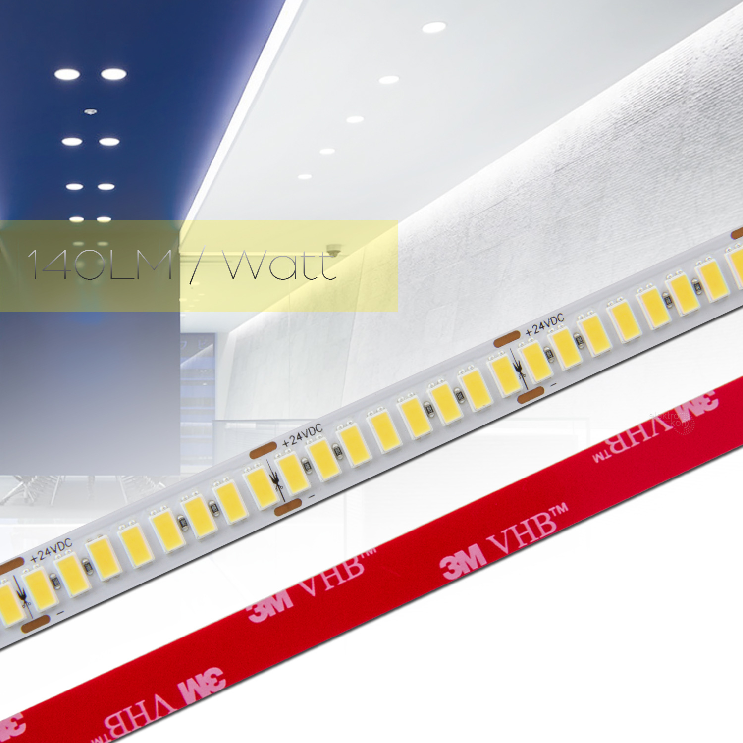 ✅ 0,5 bis 20m 140LM/Watt LED Strip Flex Band RA 90+, Leiste Streifen NEUTRAL WEIß 5630 224 LED/m 24Vdc
